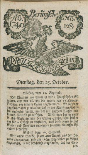 Berlinische privilegirte Zeitung vom 25.10.1740