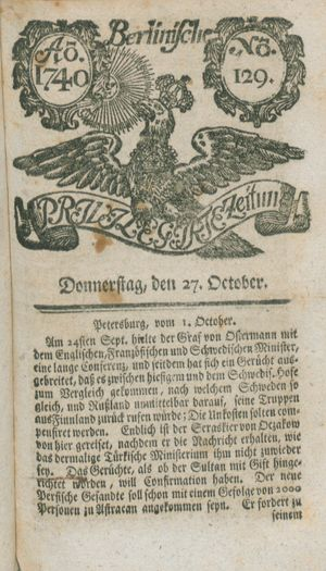 Berlinische privilegirte Zeitung on Oct 27, 1740