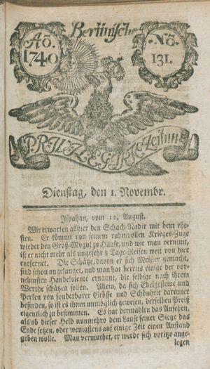 Berlinische privilegirte Zeitung vom 01.11.1740