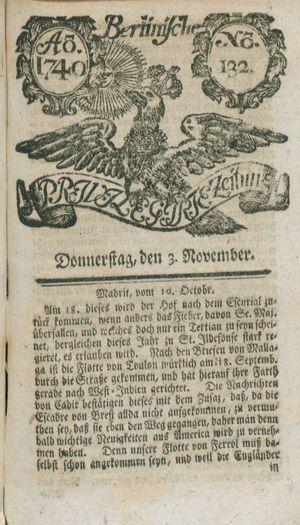 Berlinische privilegirte Zeitung vom 03.11.1740