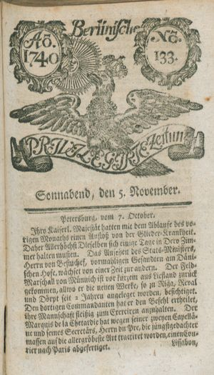 Berlinische privilegirte Zeitung vom 05.11.1740