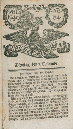 Berlinische privilegirte Zeitung vom 07.11.1740