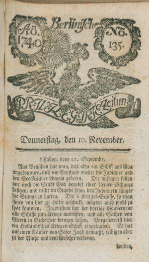Berlinische privilegirte Zeitung vom 10.11.1740
