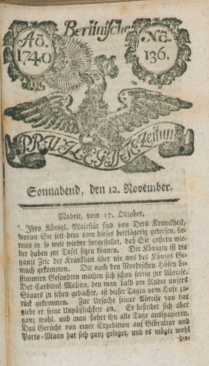 Berlinische privilegirte Zeitung vom 12.11.1740
