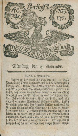 Berlinische privilegirte Zeitung vom 15.11.1740