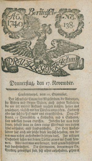 Berlinische privilegirte Zeitung vom 17.11.1740