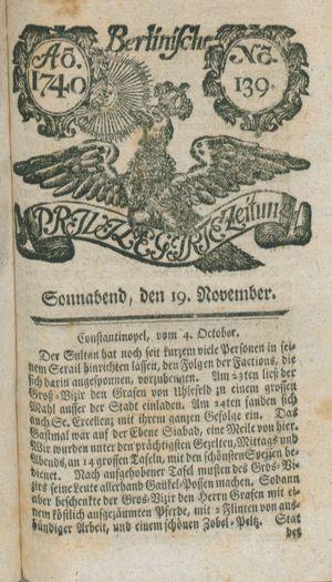Berlinische privilegirte Zeitung vom 19.11.1740