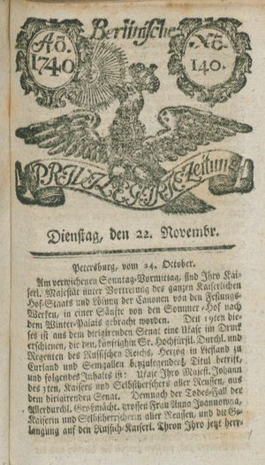 Berlinische privilegirte Zeitung vom 22.11.1740