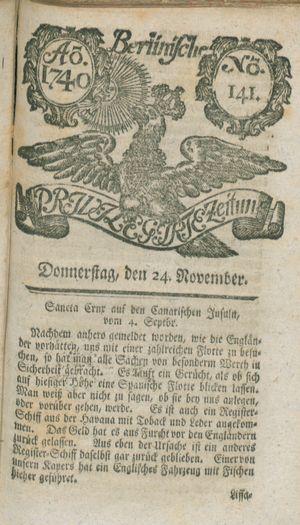 Berlinische privilegirte Zeitung vom 24.11.1740