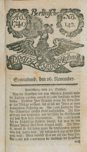 Berlinische privilegirte Zeitung on Nov 26, 1740