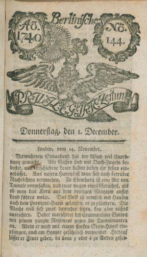 Berlinische privilegirte Zeitung vom 01.12.1740