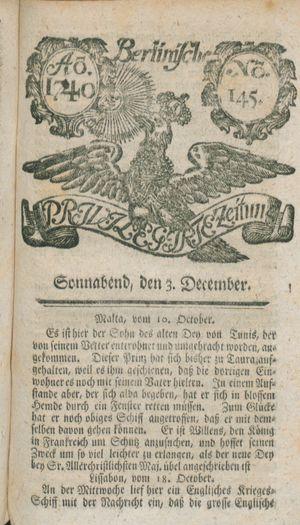 Berlinische privilegirte Zeitung vom 03.12.1740