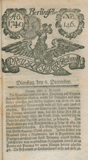 Berlinische privilegirte Zeitung vom 06.12.1740