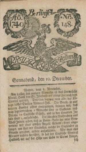 Berlinische privilegirte Zeitung vom 10.12.1740