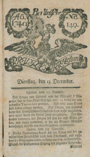 Berlinische privilegirte Zeitung vom 13.12.1740