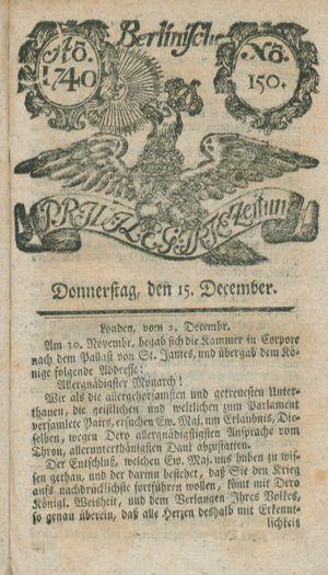 Berlinische privilegirte Zeitung vom 15.12.1740