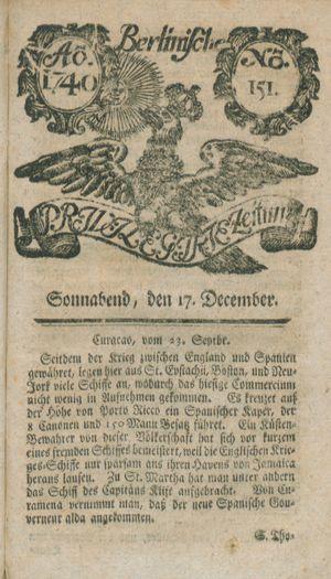 Berlinische privilegirte Zeitung vom 17.12.1740