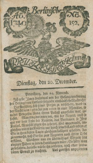 Berlinische privilegirte Zeitung vom 20.12.1740