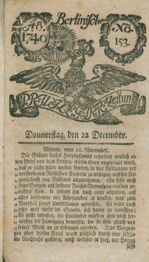 Berlinische privilegirte Zeitung vom 22.12.1740