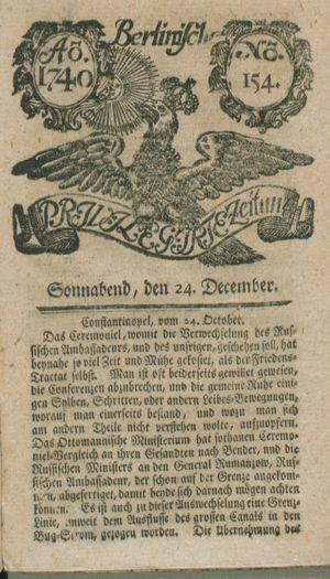 Berlinische privilegirte Zeitung vom 24.12.1740