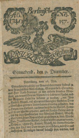 Berlinische privilegirte Zeitung vom 31.12.1740