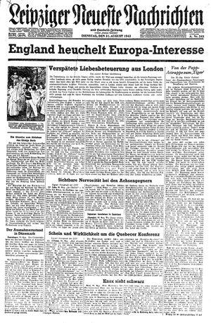 Leipziger neueste Nachrichten und Handelszeitung  vom 31.08.1943