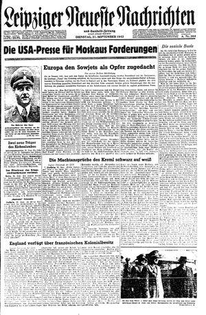 Leipziger neueste Nachrichten und Handelszeitung  vom 21.09.1943