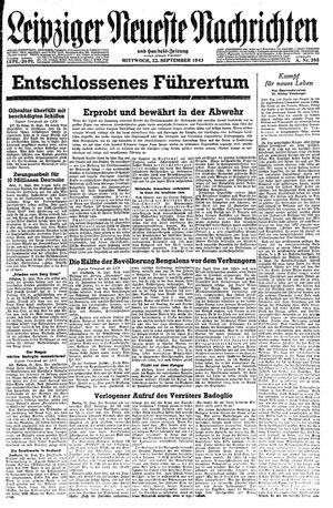 Leipziger neueste Nachrichten und Handelszeitung  vom 22.09.1943