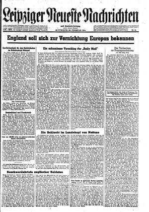 Leipziger neueste Nachrichten und Handelszeitung  vom 23.02.1944