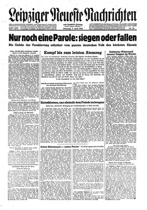 Leipziger neueste Nachrichten und Handelszeitung  vom 03.04.1945