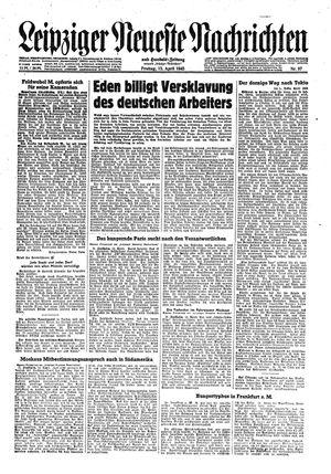 Leipziger neueste Nachrichten und Handelszeitung  vom 13.04.1945