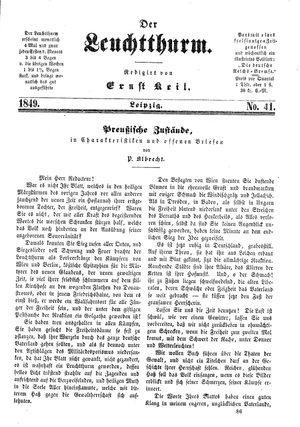 ˜Derœ Leuchtthurm vom 03.11.1849