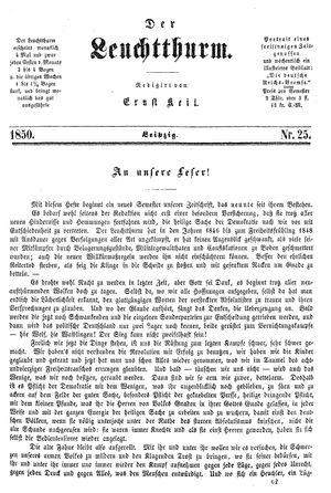 ˜Derœ Leuchtthurm vom 06.07.1850