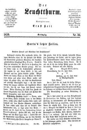 ˜Derœ Leuchtthurm vom 10.08.1850