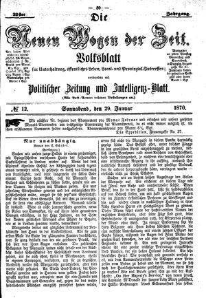 Neue Wogen der Zeit on Jan 29, 1870