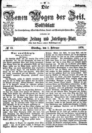 Neue Wogen der Zeit vom 01.02.1870