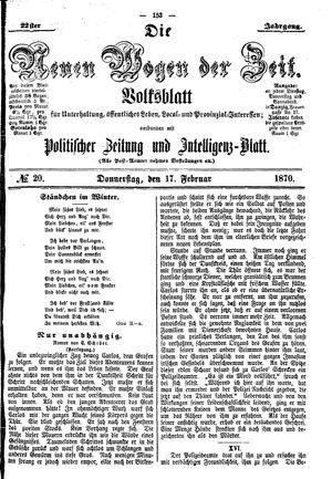Neue Wogen der Zeit vom 17.02.1870
