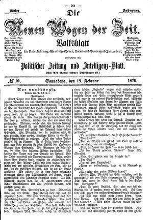Neue Wogen der Zeit vom 19.02.1870