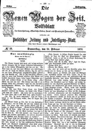 Neue Wogen der Zeit vom 24.02.1870