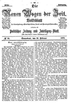 Neue Wogen der Zeit on Feb 26, 1870