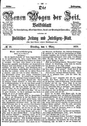 Neue Wogen der Zeit vom 01.03.1870