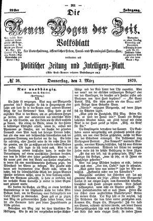 Neue Wogen der Zeit vom 03.03.1870