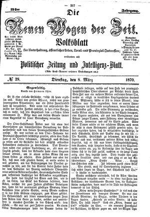 Neue Wogen der Zeit vom 08.03.1870