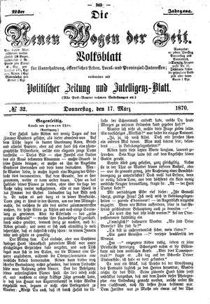 Neue Wogen der Zeit vom 17.03.1870