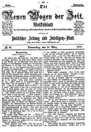 Neue Wogen der Zeit vom 24.03.1870