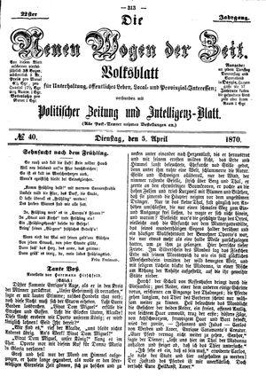 Neue Wogen der Zeit vom 05.04.1870