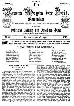 Neue Wogen der Zeit vom 16.04.1870