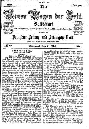 Neue Wogen der Zeit vom 21.05.1870