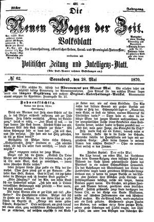 Neue Wogen der Zeit vom 28.05.1870