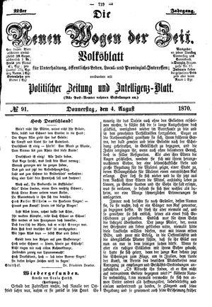 Neue Wogen der Zeit vom 04.08.1870